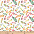 """Exclusive Fabric Editions 36"""" x 42"""" Pre-Cut Tropical Feathers Flannel"""