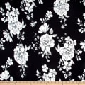 Double Brushed Poly Jersey Knit Roses Black/Ivory