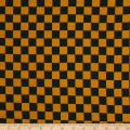 Double Brushed Poly Jersey Knit Checker Mustard/Black