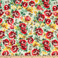 Fabric Merchants ITY Jersey Knit Roses Ivory/Red