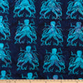 Island Batik Blue Sea Octopus Storm
