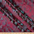 Fabric Merchants Chinese Brocade Swan Floral Wine