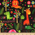 Michael Miller Fabrics Minky Neon Jungle Neon Jungle Black