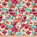 Fabric Merchants Double Brushed Poly Jersey Knit Allover Floral Ivory/Magenta/Turquoise