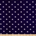 Girl Charlee Cotton Jersey Knit Stars White On Blue
