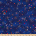 Laurel Burch Basics Hearts Blue Metallic