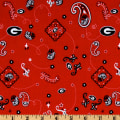 Collegiate Cotton Broadcloth University of Georgia Bandana Red