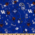 Collegiate Cotton Broadcloth University of Kentucky Bandana Blue