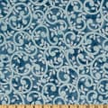 "Normandy Court 108"" Quilt Backing Scrolling Vines Light Blue/Blue"
