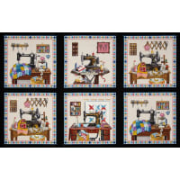Stitch In Time Sewing Patchwork Panel Black