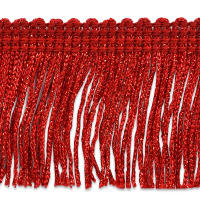 "2"" Metallic Chainette Fringe Trim Red"