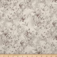 "108"" Wide Day Lily Quilt Backing Floral Taupe"