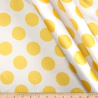 Charmeuse Satin Large Polka Dots White/Yellow
