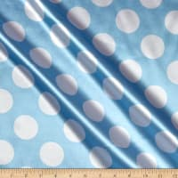 Charmeuse Satin Large Polka Dots Baby Blue/White