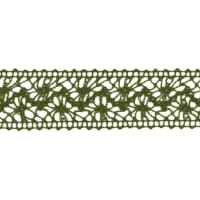 "1 1/2"" Crochet Lace Ribbon Dark Olive"