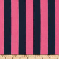 "Riley Blake 1"" Stripe Navy/Hot Pink"