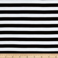 "Riley Blake Cotton Jersey Knit 1/2"" Stripes Black"