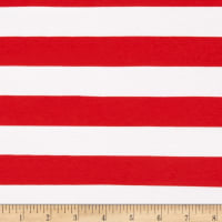 Stretch Knit 1 Inch Stripe Red