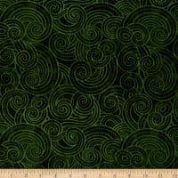 "Essential Dotty Waves 108"" Wide Quilt Back Dark Green"
