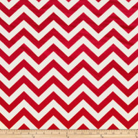 E.Z. Fabric Minky 3/4'' Chevron White/Red