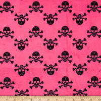 E.Z. Fabric Minky Jolly Rogers Skull & Bones Hot Pink/Black