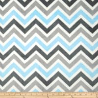 Shannon Minky Cuddle Zig Zag Baby Blue/Silver/Charcoal