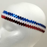 "1 1/4"" Metallic Stretch Sequin Headband  Red/White/Blue"