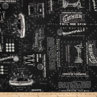 She Who Sews Vintage Canvas Text Black
