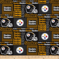 NFL Cotton Broadcloth Pittsburgh Steelers Patchwork Black/Yellow