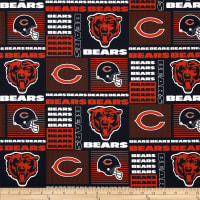 NFL Cotton Broadcloth Chicago Bears Patchwork Blue/Orange