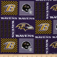 NFL Cotton Broadcloth Baltimore Ravens Patchwork Purple/Gold