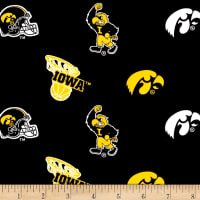 NCAA Iowa Hawkeyes Broadcloth Black