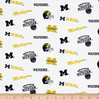NCAA Michigan Wolverines Broadcloth White