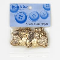 Dress It Up Embellishment Buttons Hearts Assorted Gold
