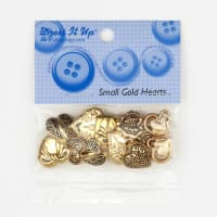 Dress It Up Embellishment Buttons  Small Hearts Gold