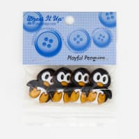 Dress It Up Embellisment Buttons  Playful Penguins