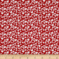 Riley Blake Holiday Banners Hearts Red