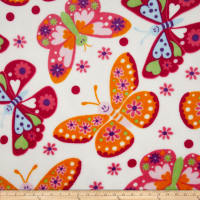 Plush Coral Fleece Tossed Butterflies White