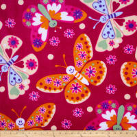 Fleece Tossed Butterflies Fuschia