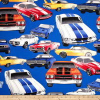 'Nicole's Prints Pure Muscle Cars Royal' from the web at 'https://images.fabric.com/images/200/200/0326163.jpg'