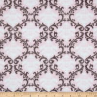 Shannon Minky Cuddle Damask  Blush/Snow