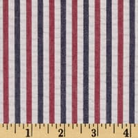 Kaufman Breakers Seersucker Stripe Red/Blue