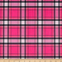 E.Z. Fabric Minky New Plaid Hot Pink/Black