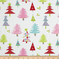 Riley Blake Christmas Basics Trees White