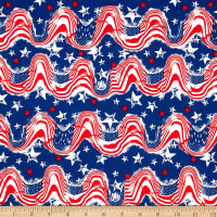 Stars & Stripes II Waving Flags & Stars Red/White/Blue