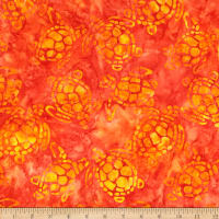Michael Miller Batik Sea Turtles Orange