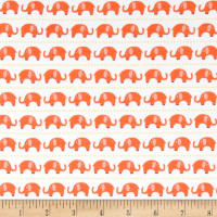 Riley Blake Cotton Jersey Knit Oh Boy Elephants Orange