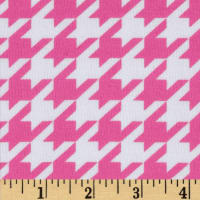 Riley Blake Cotton Jersey Knit Medium Houndstooth Hot Pink