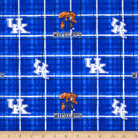 Collegiate Cotton Broadcloth University of Kentucky Plaid Blue