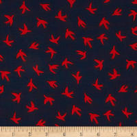 Telio Moda Crepe Bird Print Navy/Red